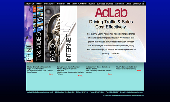 Website design for AdLab designed by D2 Studios Graphic Communication in NJ