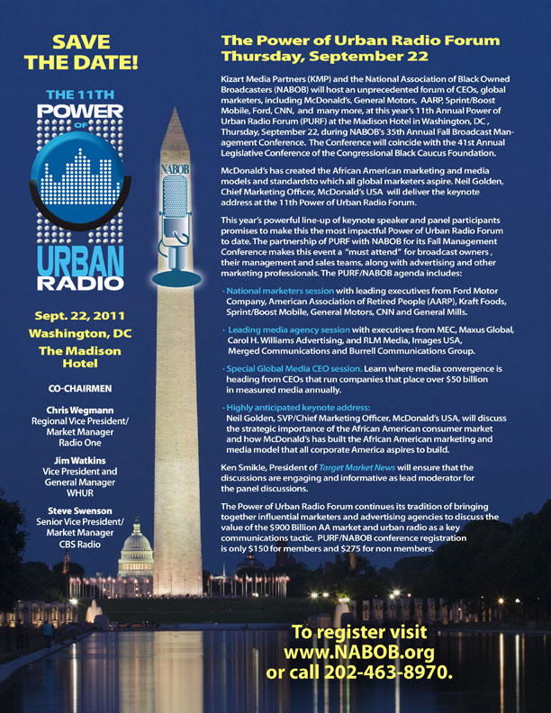Event promotional ad for The Power of Urban Radio designed by D2 Studios Graphic Design in NJ